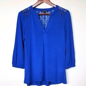 Cobalt blue blouse top with lace inserts